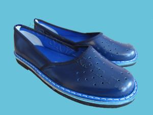 тапочки кожаные синие