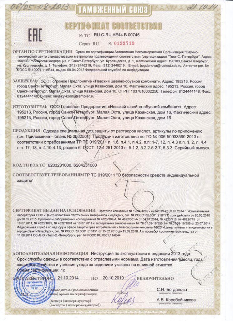 Сертификат защита от кислот